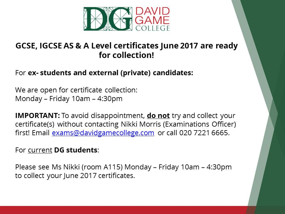 Exams Certificate Notice V1