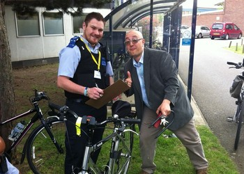 EWS Police Cadets help security mark staff bicycles
