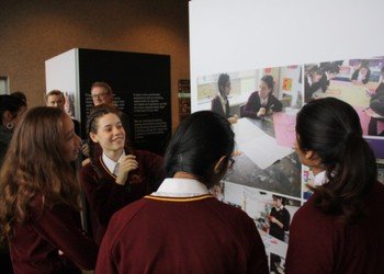 EWS students visit their artworks at The Royal Festival Hall.