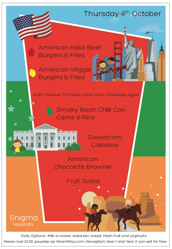 American menu 4th october 2018 th