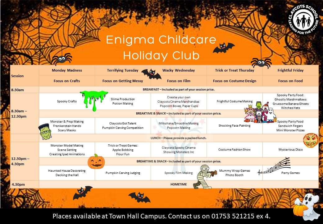 Oct half term holiday club poster v5