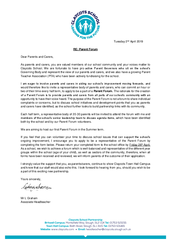 20190401 thc parent forum initial letter