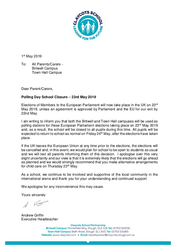 20190523 letter to all parents school closure for polling day eu elections 23rd may 2019
