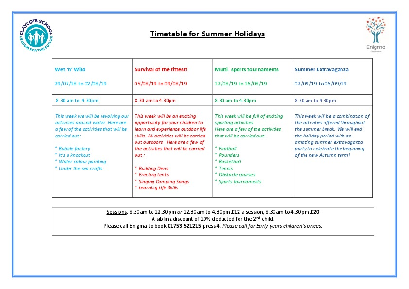 Summer holiday 2019 timetable v2