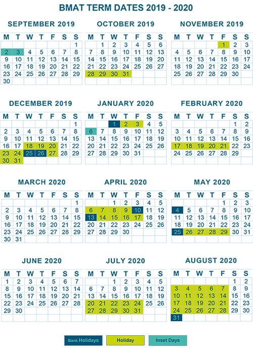 BMAT Term Dates 2019 2020 Website Version