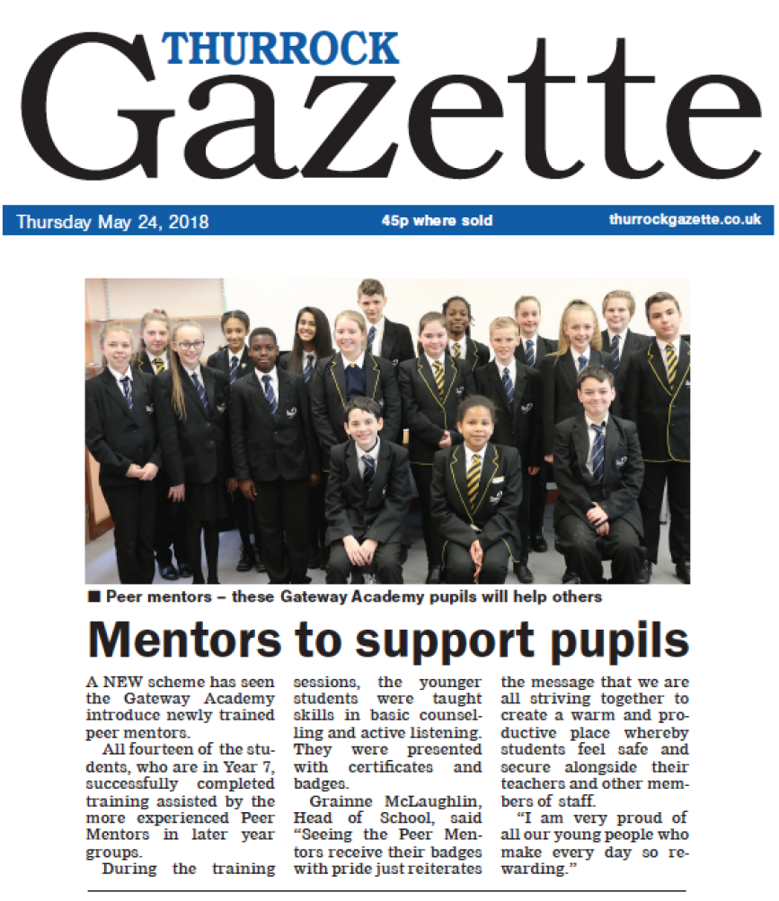 Thurrock Gazette 24 May 2018 GA Peer Mentors