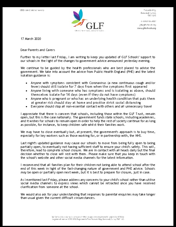 CEO letter to parents and carers 170320