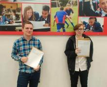 A Level Results photos 2020 Alex and Charlotte