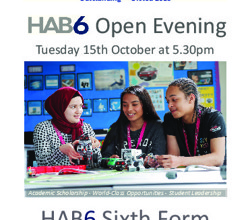 HAB6 Open Evening, Tues 15th Oct 5.30pm