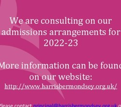 Admissions Consultation - 17th December to 28th January