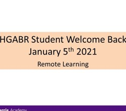 HGABR Student Welcome Back - 5 January 2021