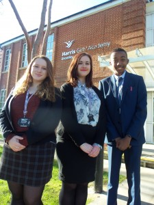 Head girl - middle Chloe Leigh and deputies