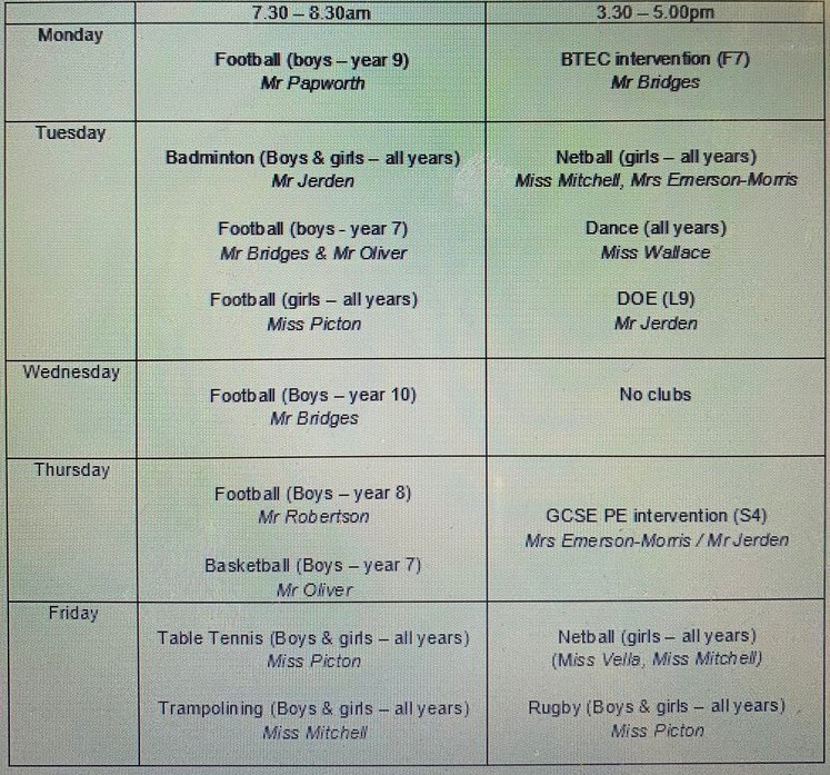 PE clubs timetable Feb 2018