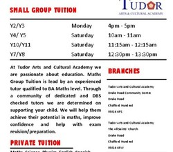 After School & Weekend Maths Tution - at Tudor Arts & Cultural Academy