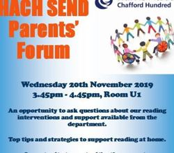 SEND Parents' Forum - 20th November - 3.45-4.45pm