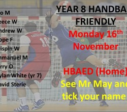Handball - KS3 Teamsheet for Friendly on November 16