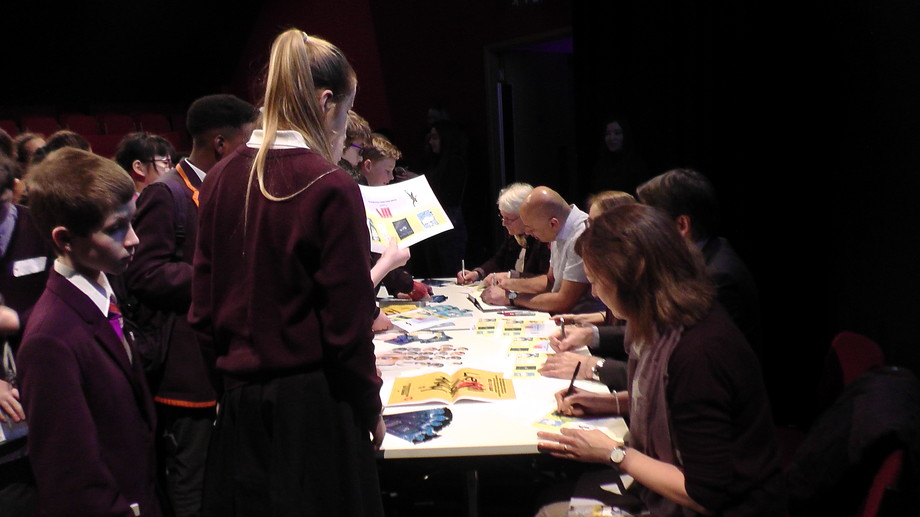 Shortlisted authors meeting students