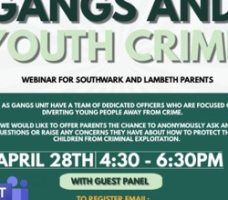 Gangs & Youth Crime  - Webinar For Parents/Guardians - Weds 28 April, 4.30pm