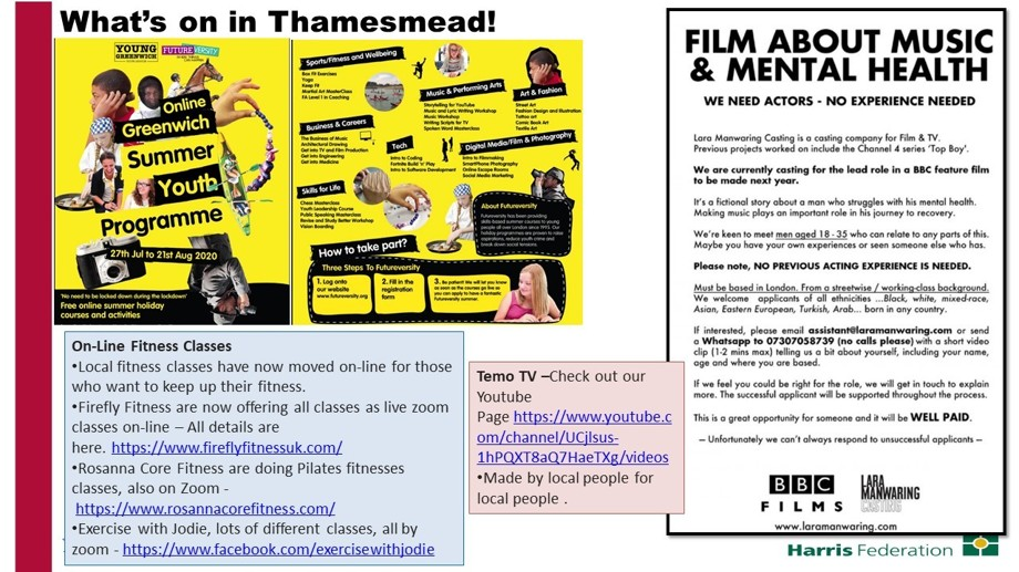 What's on in Thamesmead 070720