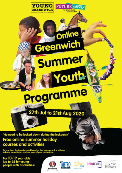 2020 Online Greenwich Summer Youth Programme flyer front (1)