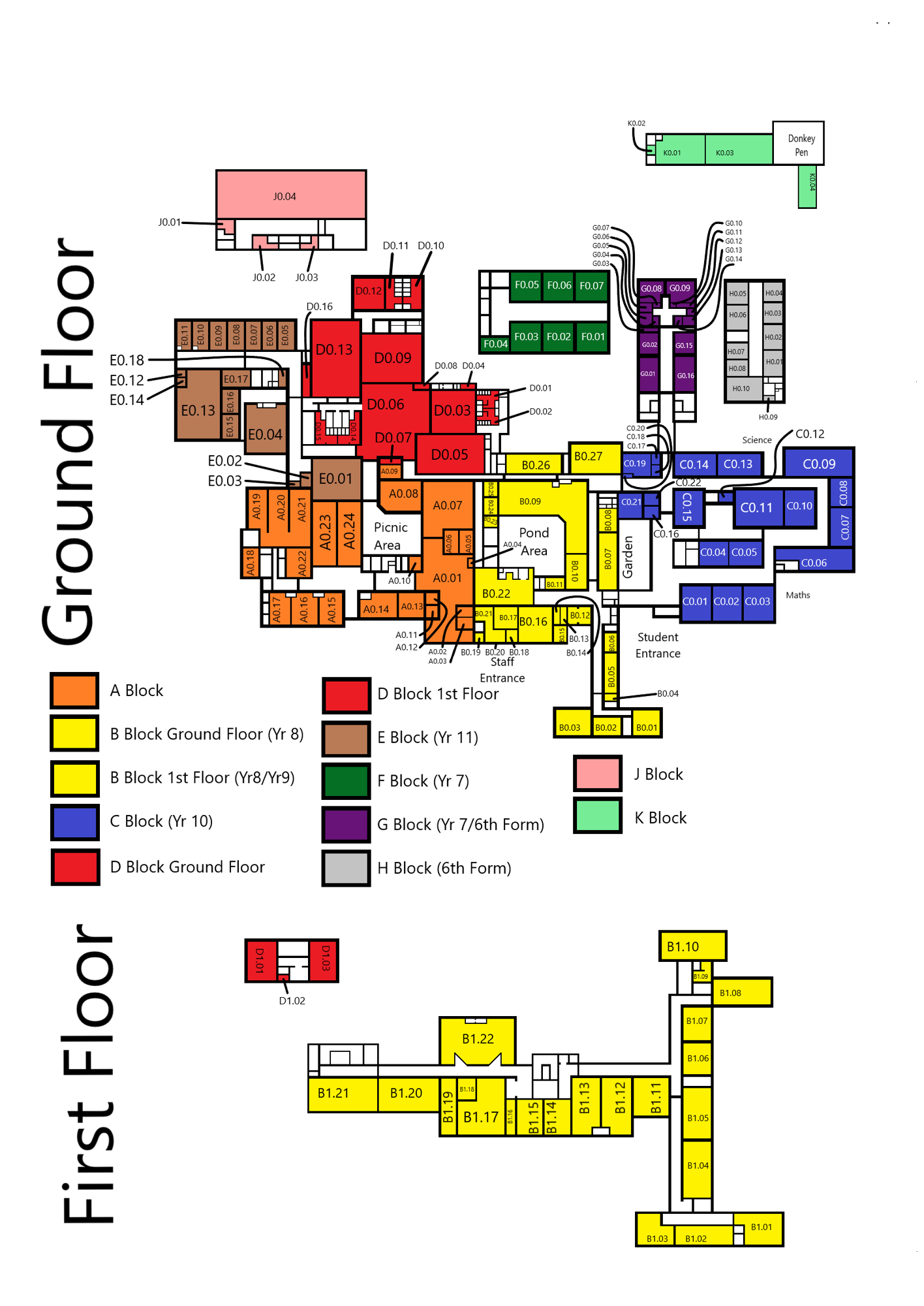 Map of school in block colours with year groups 07072020 bubbles