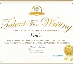 Louis, Year 8, Features in Anthology of Young Writers