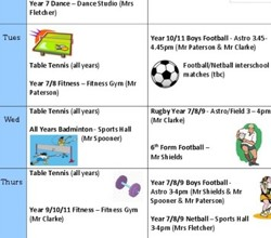After-School Sports Clubs - Latest List