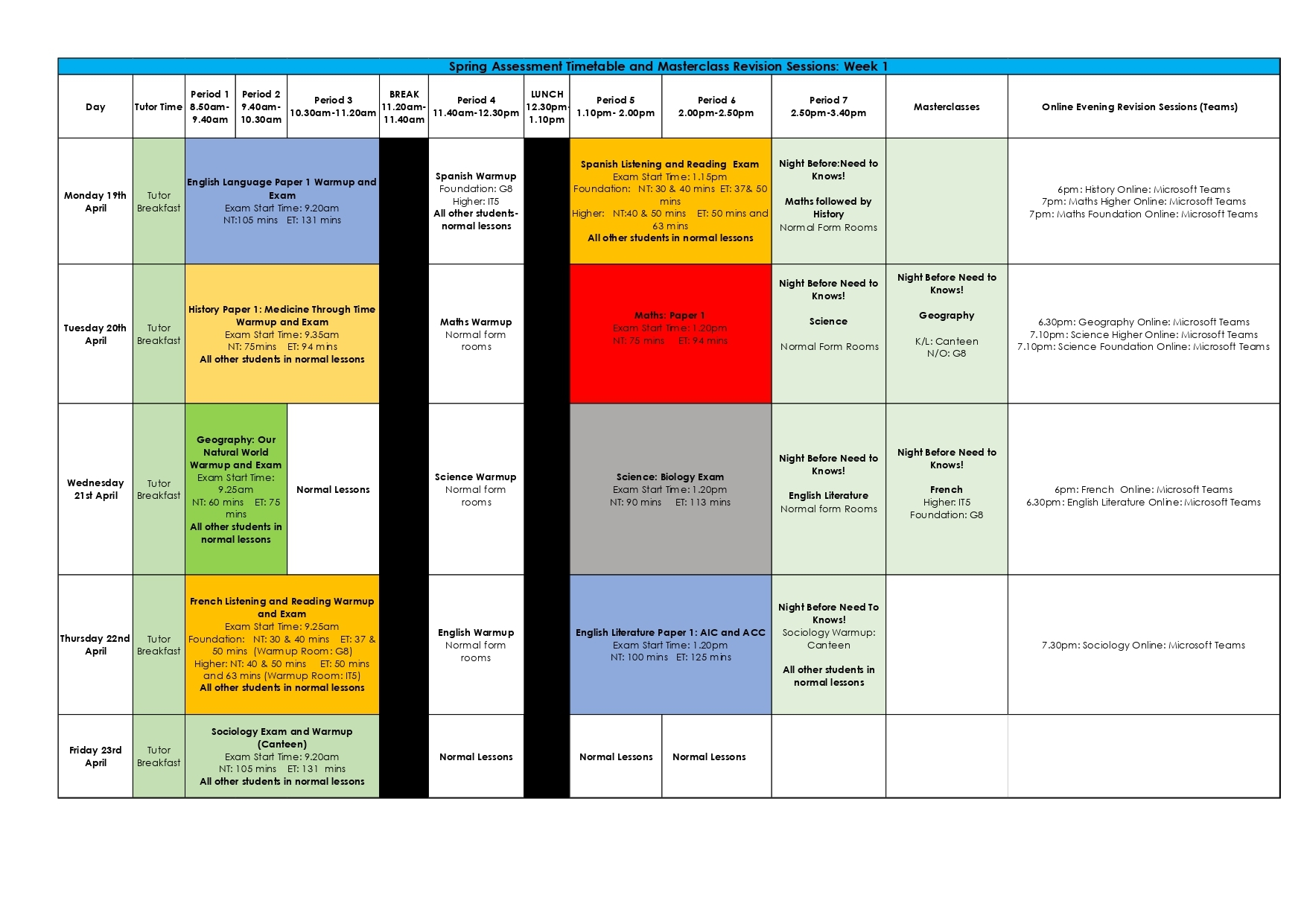 Week 1 spring assessment timetable and masterclass revision sessions page 0001