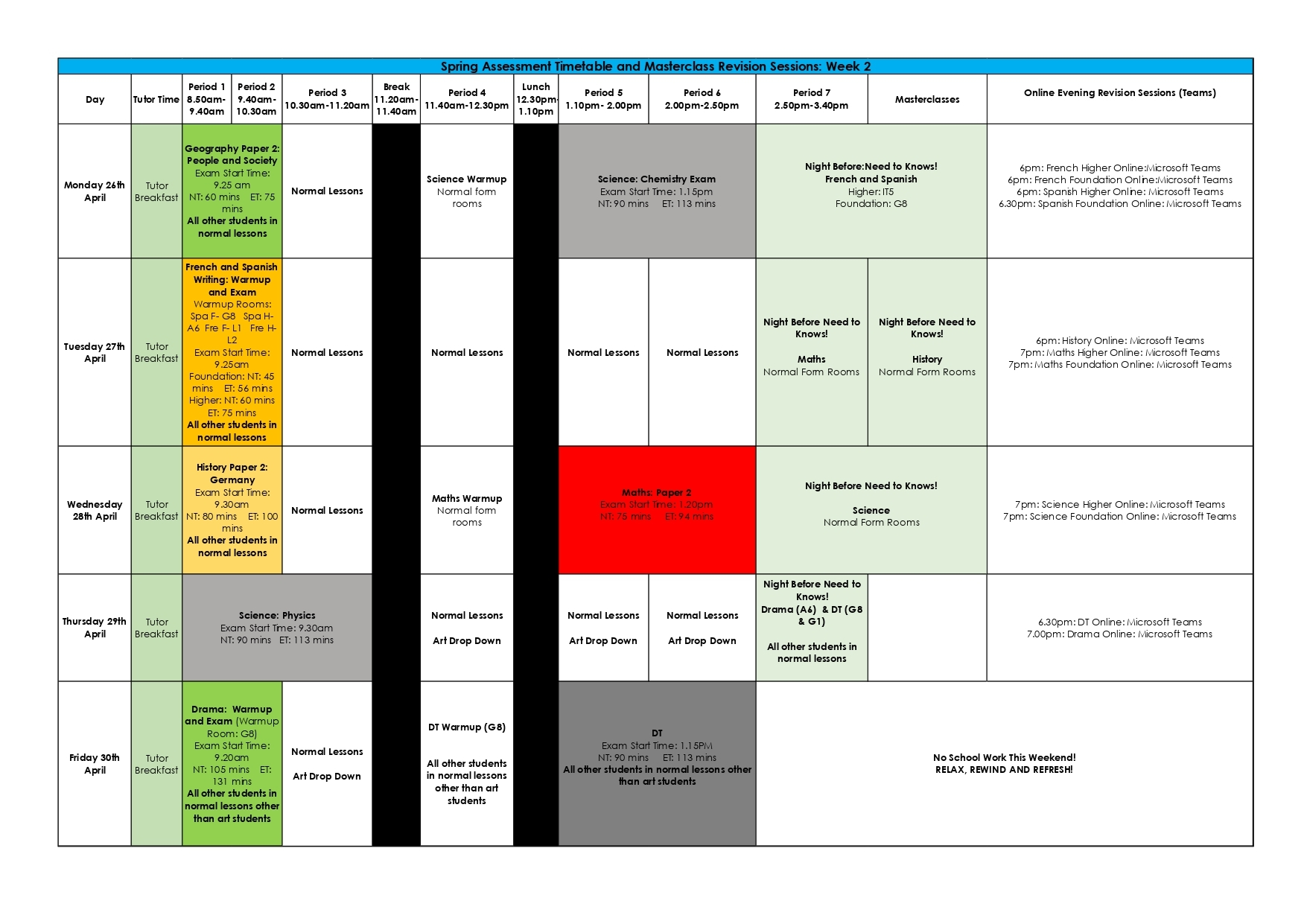 Week 2 spring assessment timetable and masterclass revisions sessions