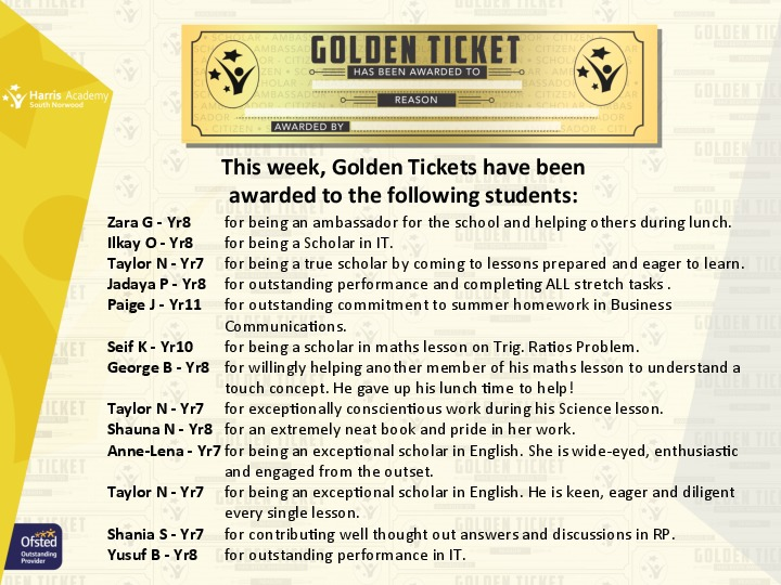 Golden ticket winners autumn term 2017 week 2