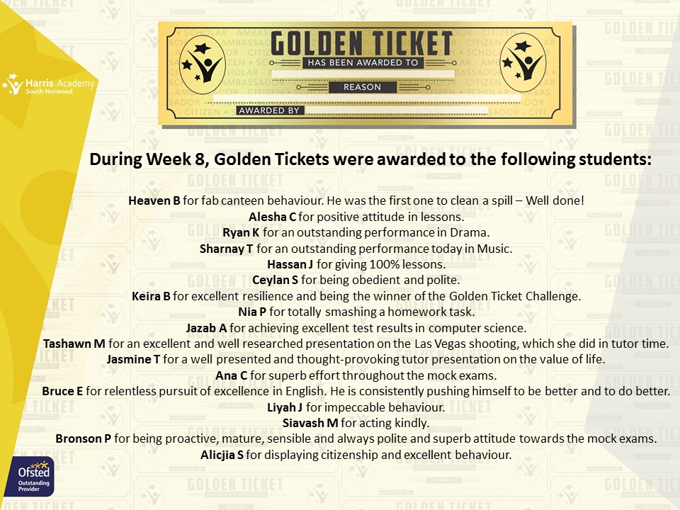 Golden Ticket Winners Autumn Term 2017 Week 8