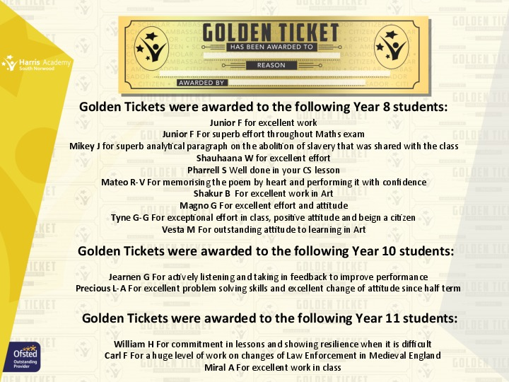 Golden Ticket Winners Autumn Term 2017 Week 11 Yr 81011