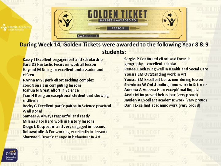 Golden Ticket Winners Spring Term 2018 Week 1 Yr 89