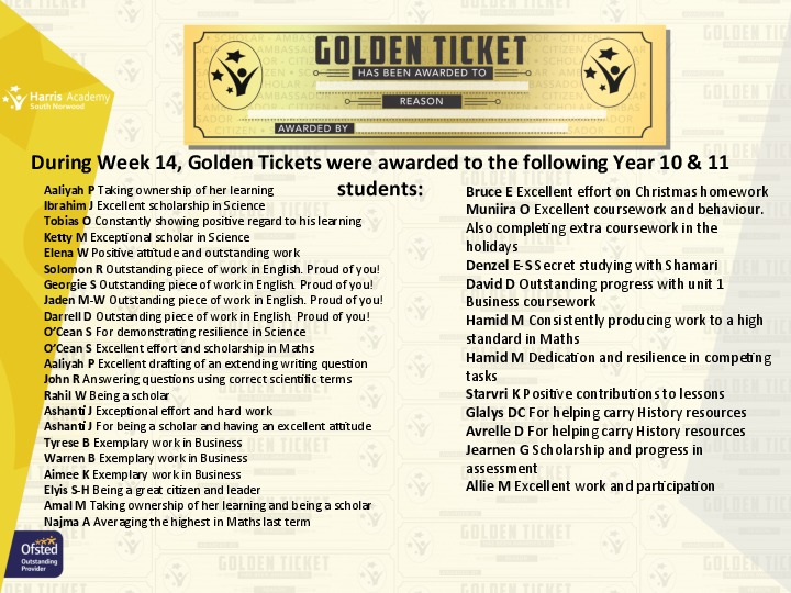 Golden Ticket Winners Spring Term 2018 Week 1 Yr 1011
