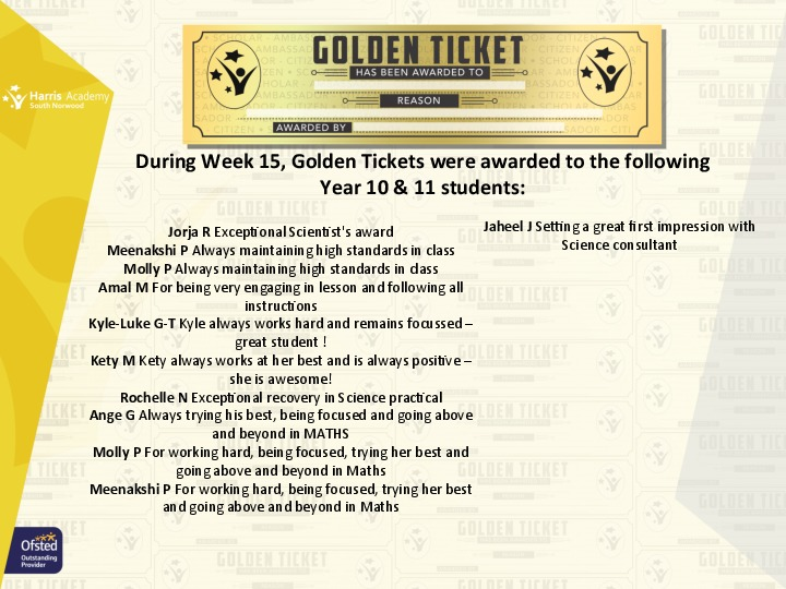 Golden Ticket Winners Spring Term 2018 Week 2 Yr 1011