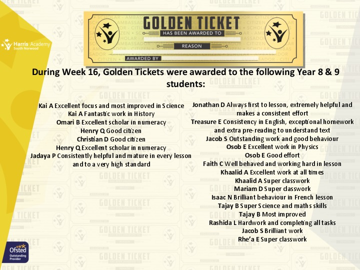 Golden Ticket Winners Spring Term 2018 Week 3 Yr 89
