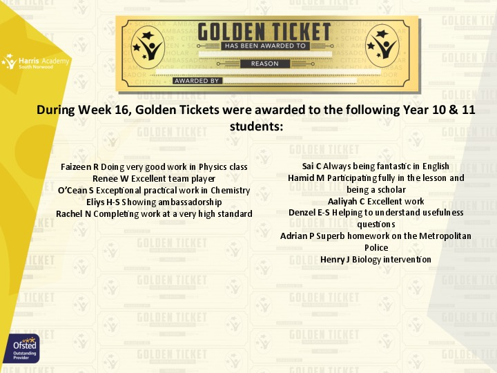 Golden Ticket Winners Spring Term 2018 Week 3 Yr 1011