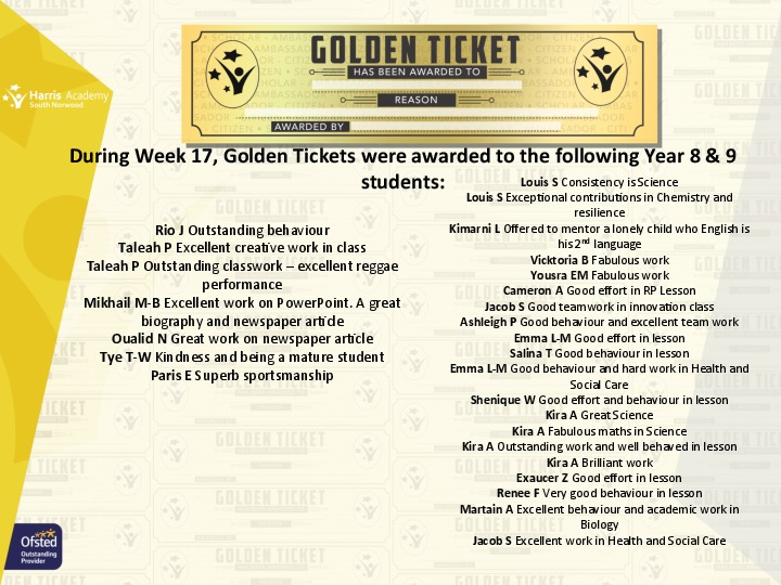 Golden Ticket Winners Spring Term 2018 Week 4 Yr 89