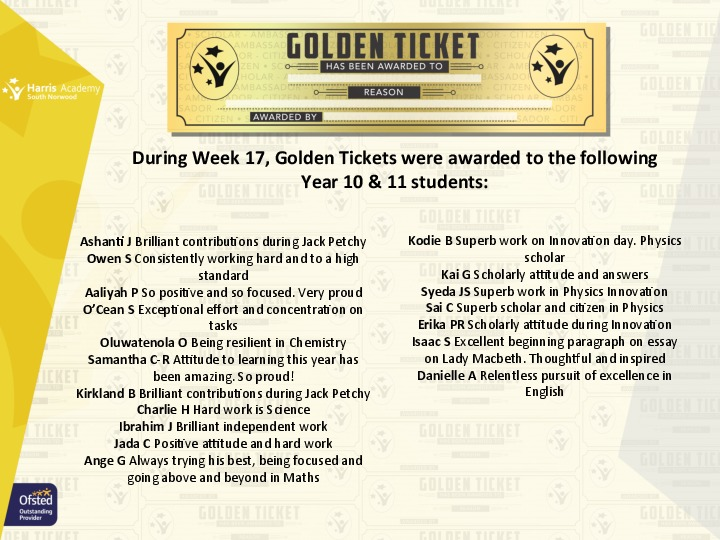 Golden Ticket Winners Spring Term 2018 Week 4 Yr 1011