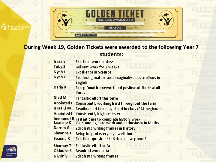 Golden Ticket Winners Spring Term 2018 Week 6 Yr 7