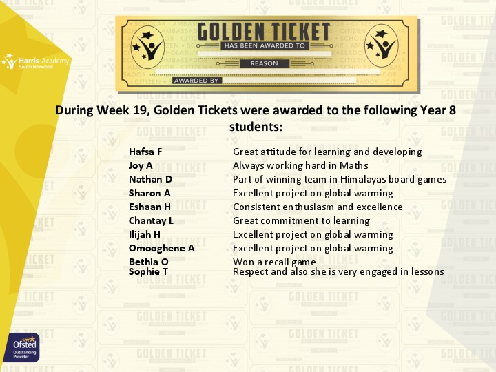 Golden Ticket Winners Spring Term 2018 Week 6 Yr 8