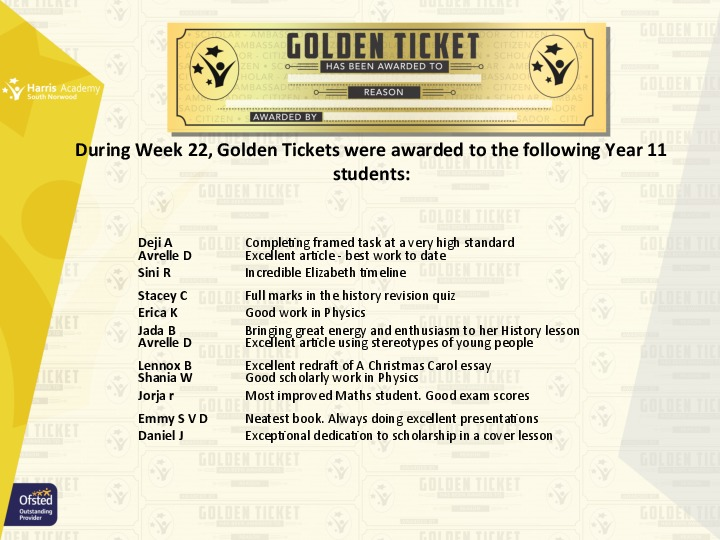 Golden Ticket Winners Spring Term 2018 Week 10 Yr 11