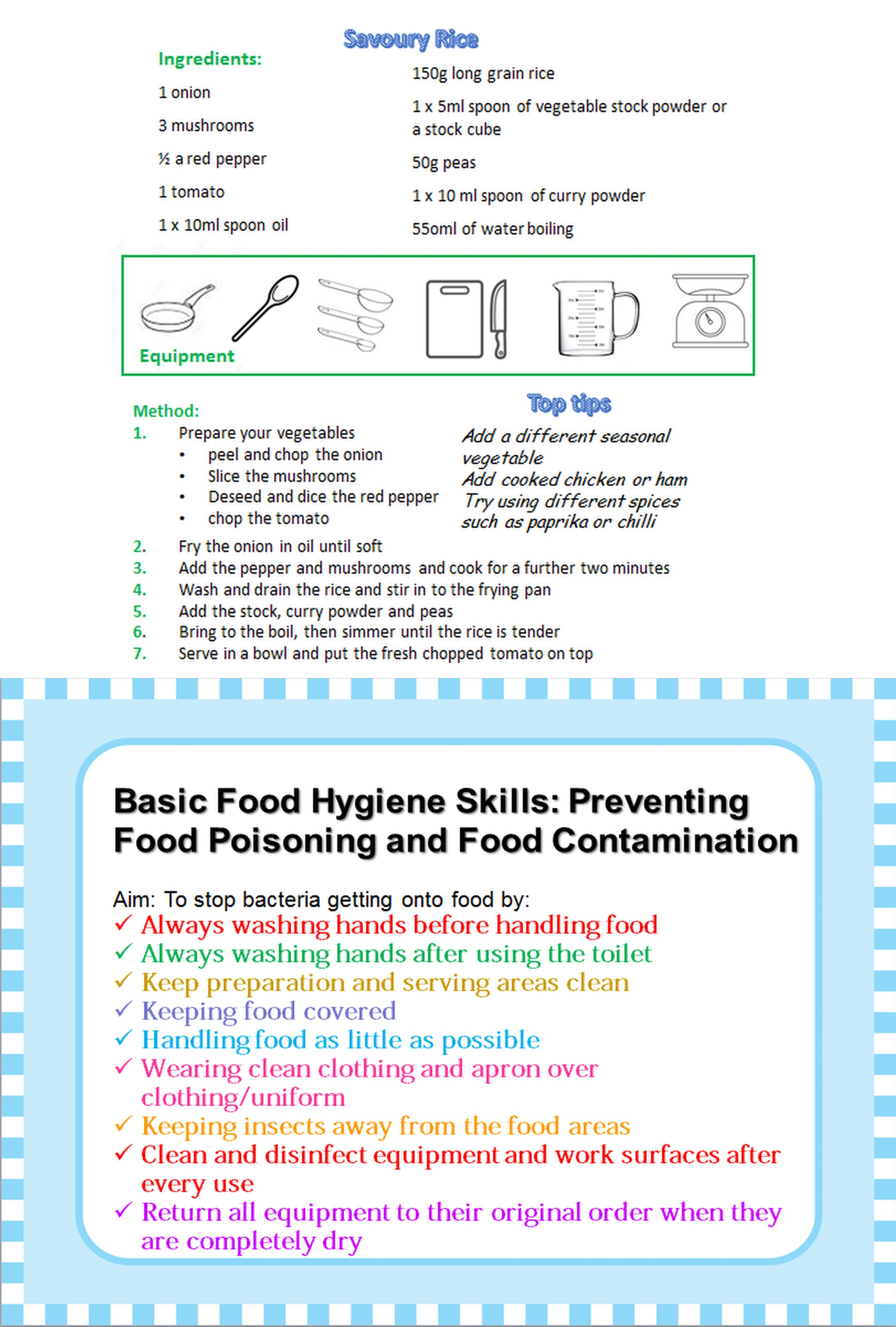 Healthy school meals food hygiene