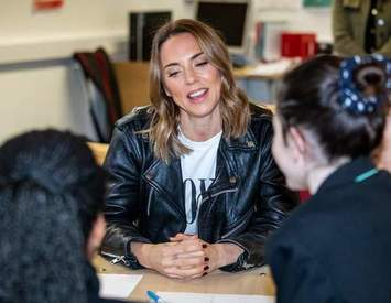 The Spice Girls star visited Hornsey School for Girls as part of War Child campaign