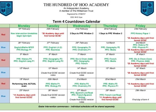 Year 11 Term 4 Countdown Calendar