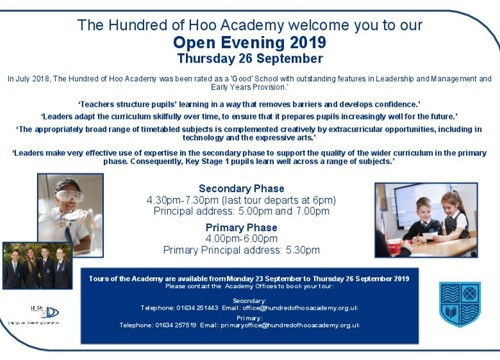 Open Evening for 2020 Primary and Secondary Admissions