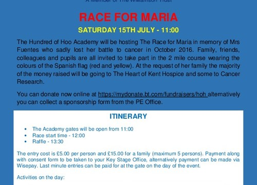 Race for Maria Saturday 15 July
