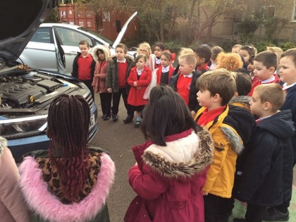 Young children learn about cars