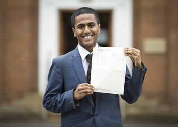 Bursary pupil Anik celebrates A-level results
