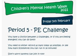PE Challenge - Children's Mental Health Week 2021